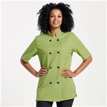 Women's Modern Short Sleeve Essential Plastic Button Chef Coat (CW4465)