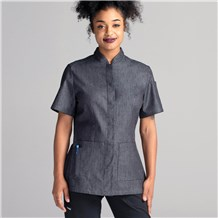 Women's Slim Short Sleeve Denim Chef Coat (CW4955)