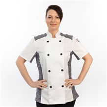 Women's Slim Short Sleeve Quick Cool Stretch Chef Coat (CW5631) - White