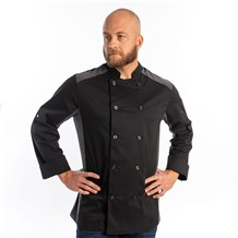Unisex Slim Long Sleeve Quick Cool Stretch Chef Coat (CW5632) - Black