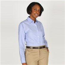 Women's Light Blue Long Sleeve Oxford (ID4220)