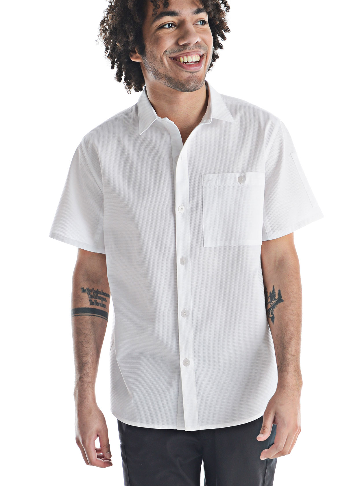 Unisex Slim Short Sleeve Performance Waffle Kitchen Shirt (CW4330)