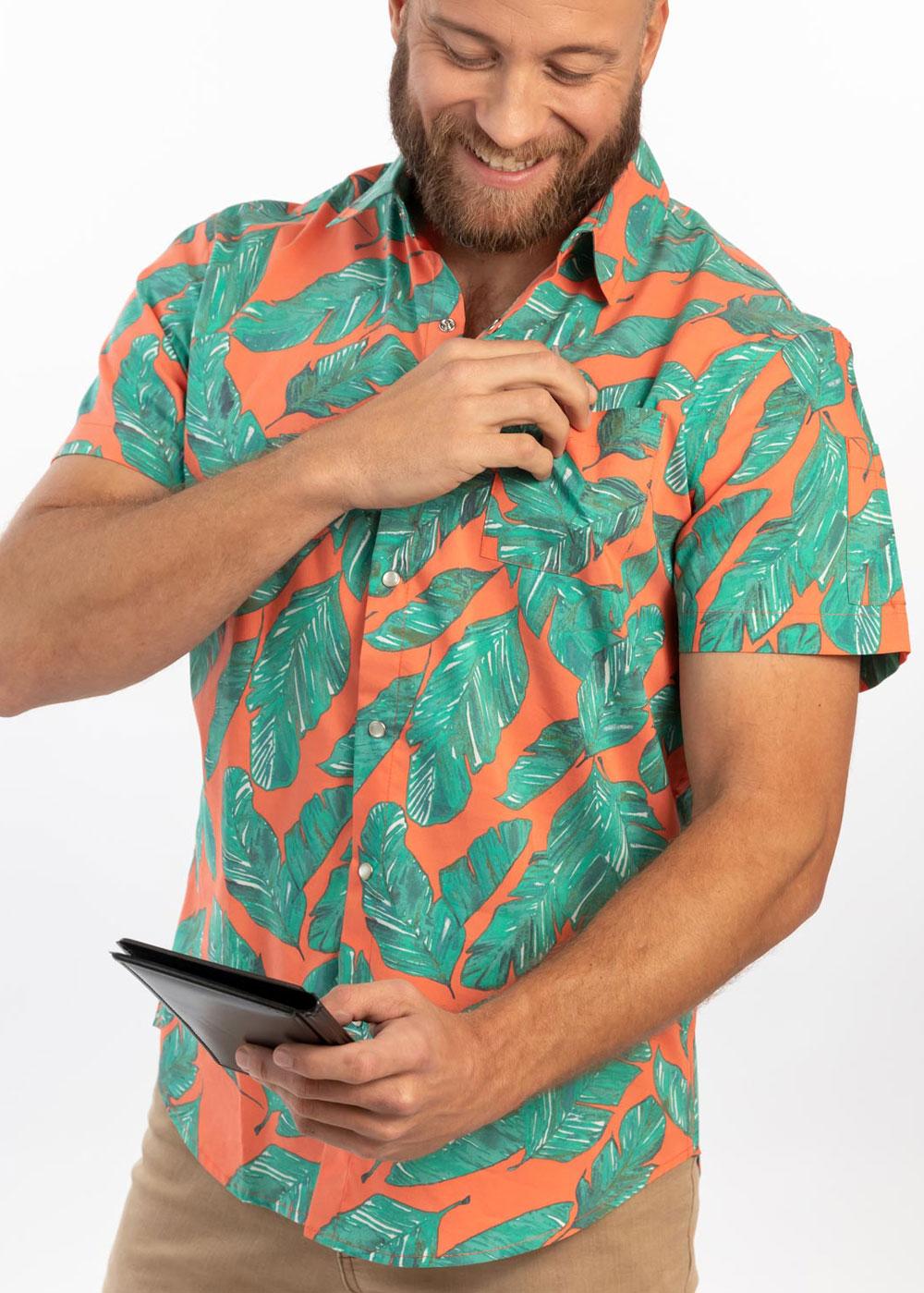 Unisex Slim Short Sleeve Stretch Print Work Shirt (CW4350) - Paradise Palm Coral