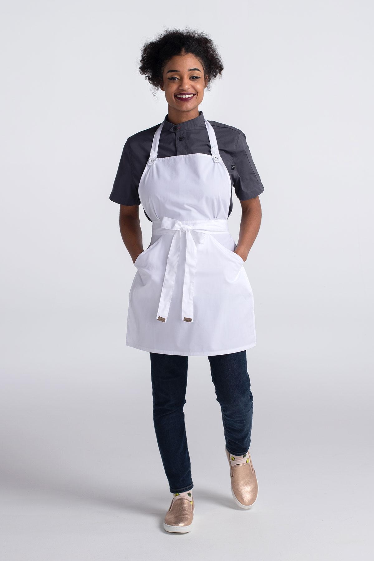 Women's Adjustable Neck Bib Apron With Kangaroo Pocket (CW1667)